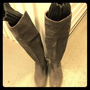 New grey suede leather Corso Como knee high boots